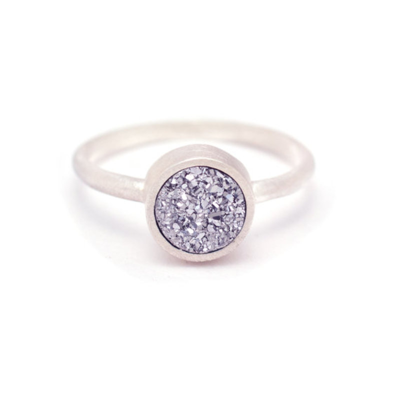 Kristine Lily Druzy POP Ring in Silver Quartz and Silver