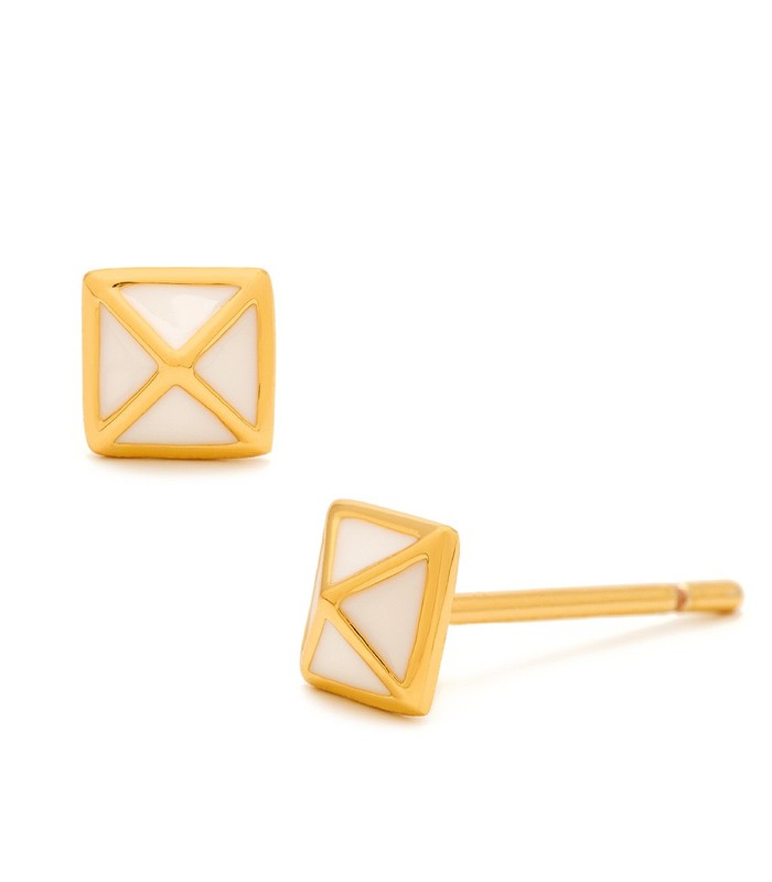 Gorjana Lula Pyramid Studs in White