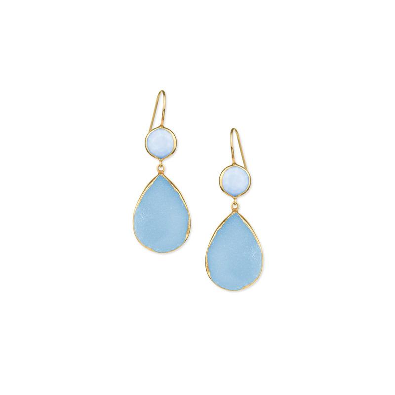 Margaret Elizabeth Two Stone Drops Aqua Chalcedony & Ocean Blue Druzy
