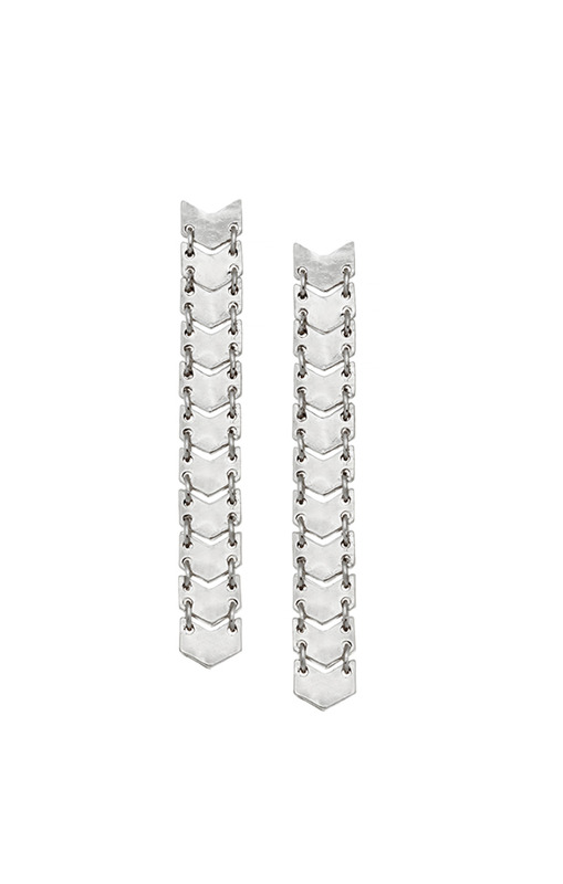 House of Harlow 1960 Chevron Ladder Earrings in Silver