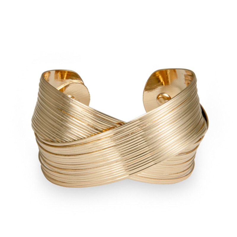 Urban Gem Cross Over Cuff in Gold