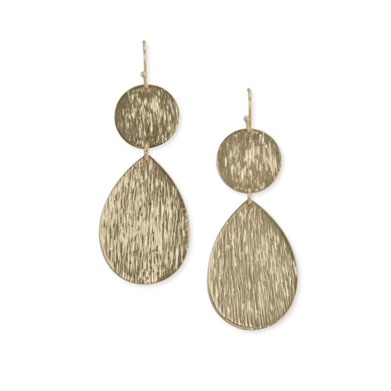 Urban Gem Plate Double Drop Earrings in Gold