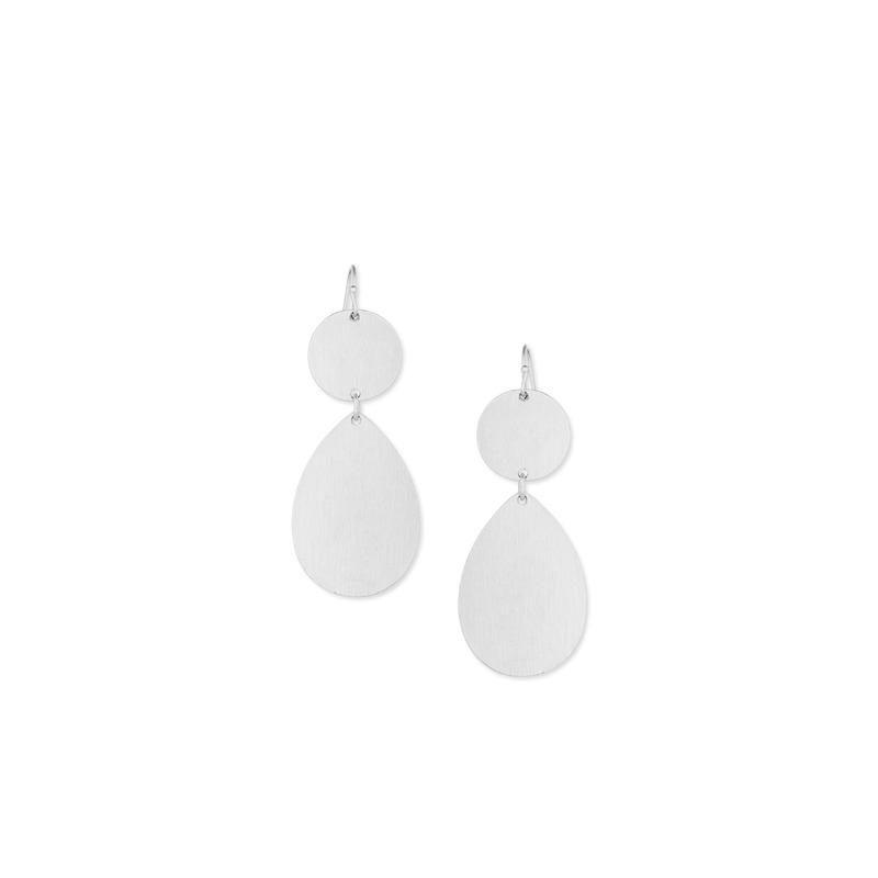 Urban Gem Plate Double Drop Earrings in Silver