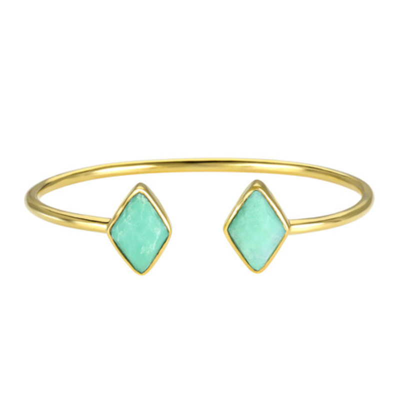 Margaret Elizabeth Diamond Bangle in Chrysoprase