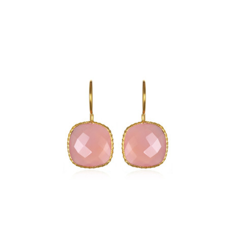 Margaret Elizabeth Mini Cushion Cut Drops in Pink Chalcedony