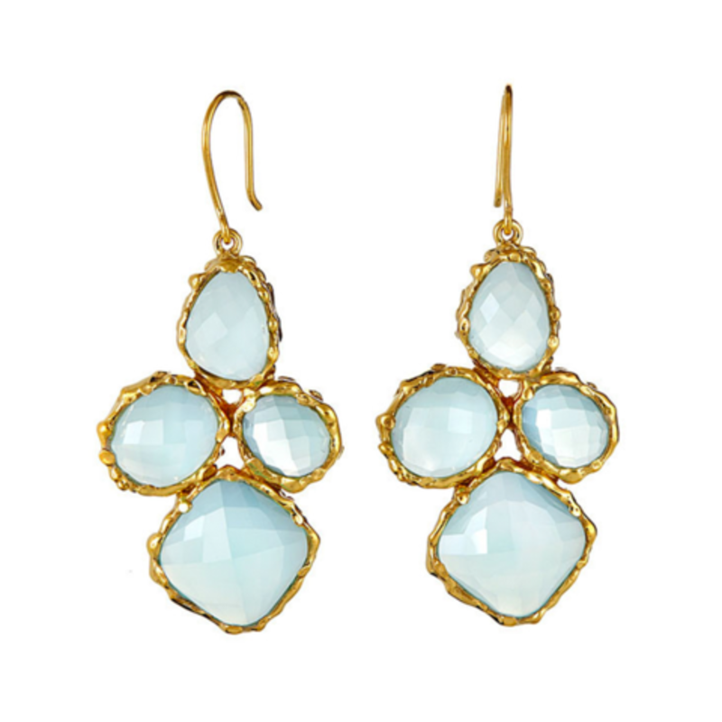 Margaret Elizabeth 4 Stone Drops Earrings in Aqua Chalcedony