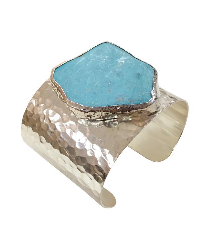 Charlene K Agate Blue Quartz Cuff in Silver