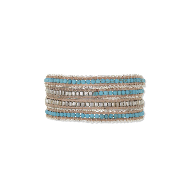 Nakamol Mixed Crystals Turquoise & Silver Tan Leather Wrap Bracelet