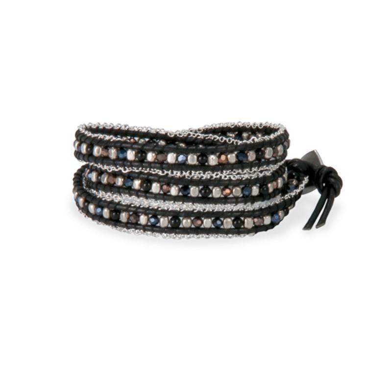 Nakamol Mixed Crystals Black Leather Wrap Bracelet