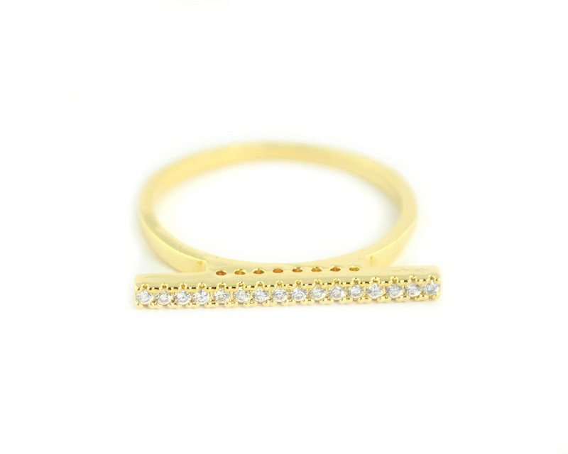 Wanderlust + Co Crystal Bar Gold Ring