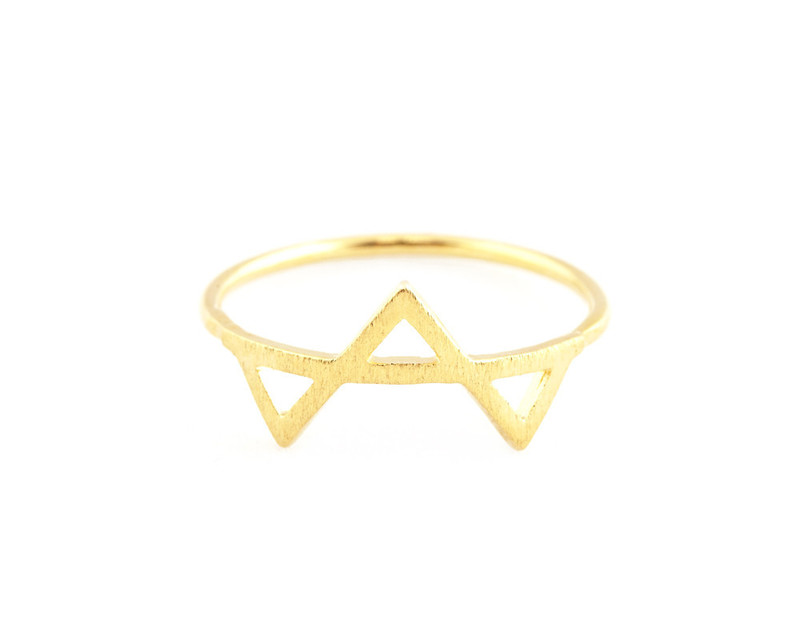 Wanderlust + Co Tri-Geo Gold Ring