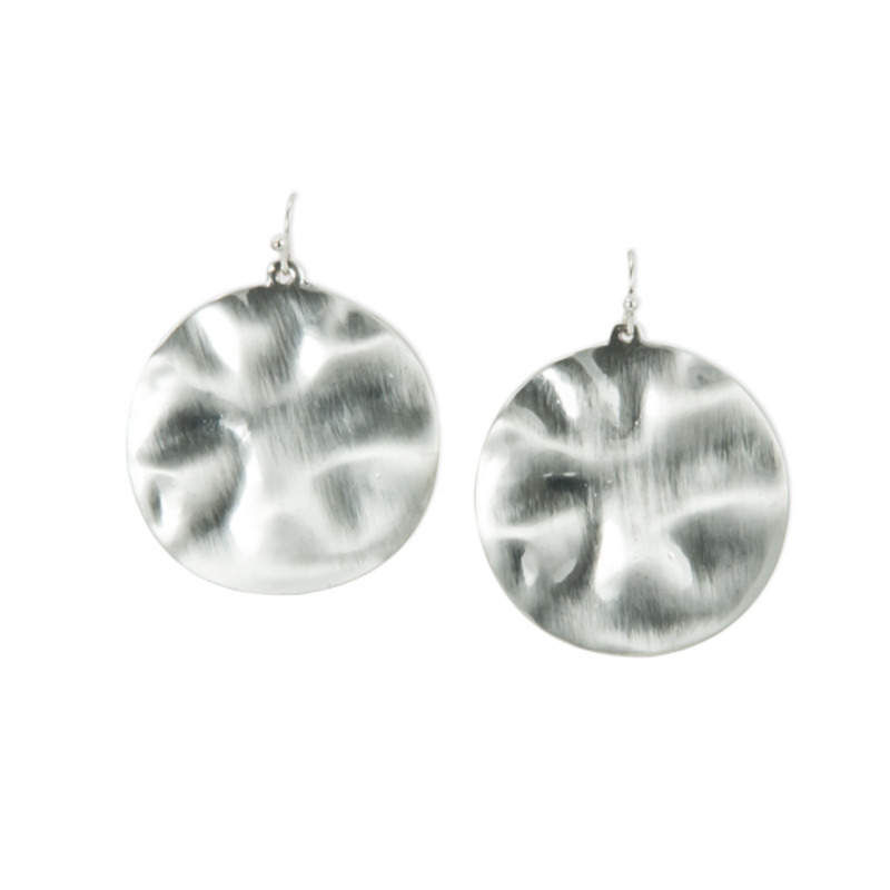 Urban Gem Hammered Disc Earrings in Silver