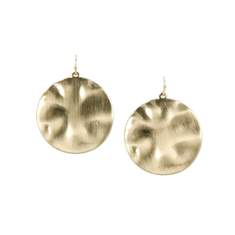 Urban Gem Hammered Disc Earrings in Gold