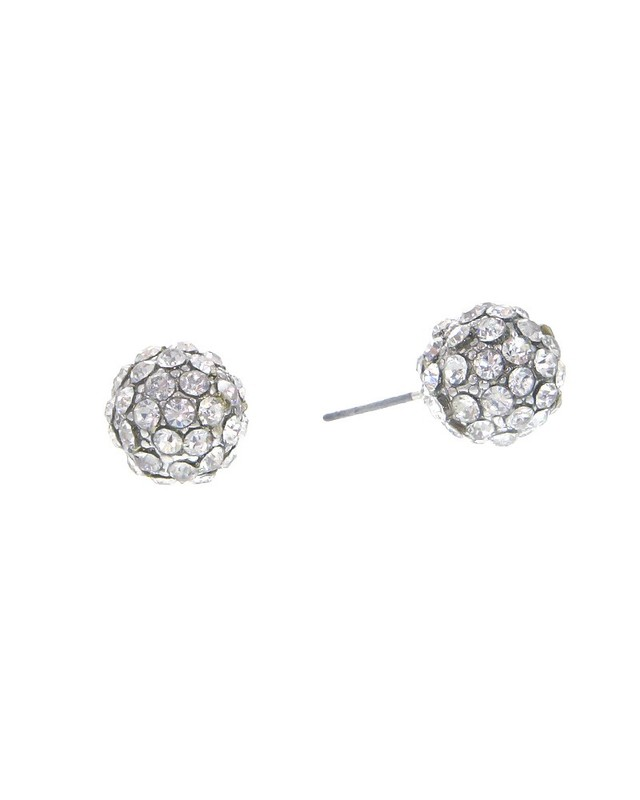 Urban Gem Pave Ball Studs in Silver