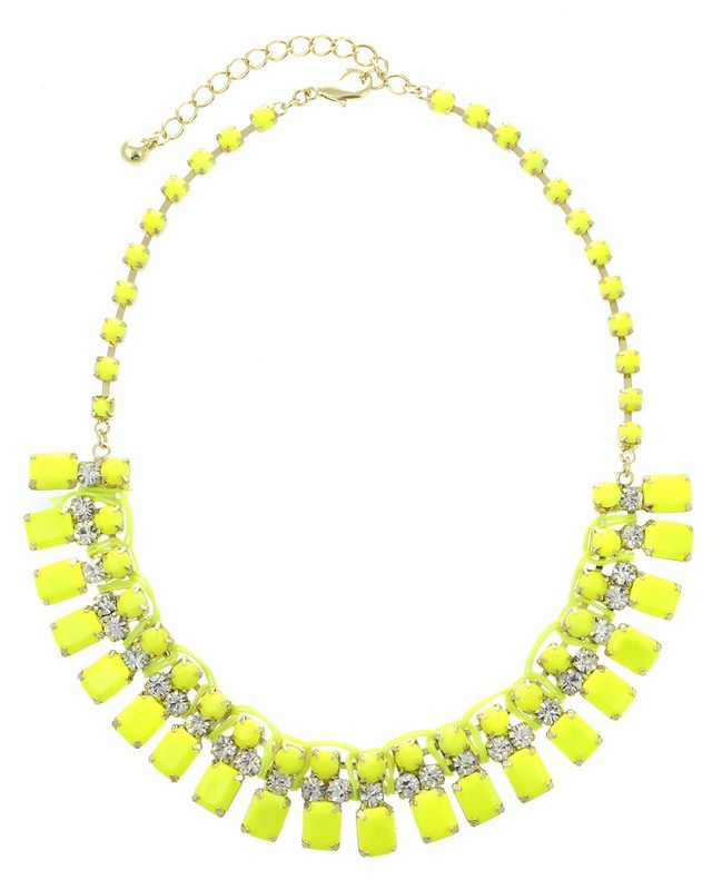 Urban Gem Bright and Early Bib Necklace in Neon Yellow