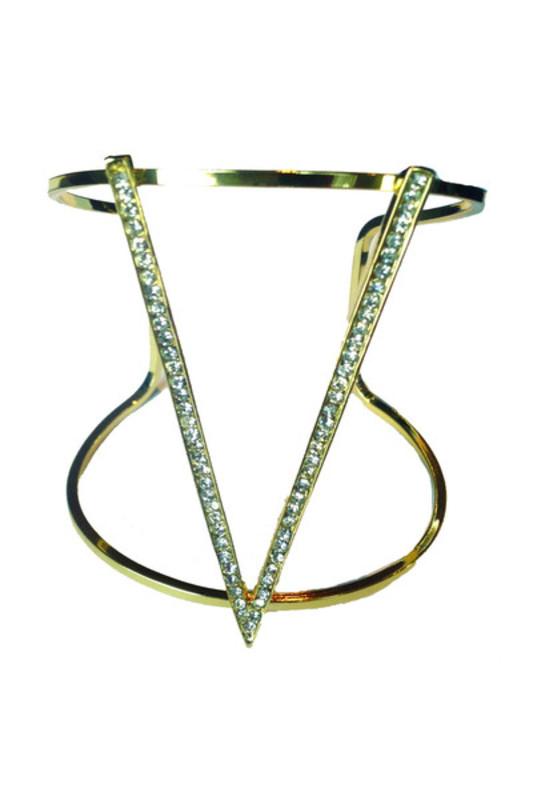 Jules Smith Pavé V Cuff Bracelet in Gold