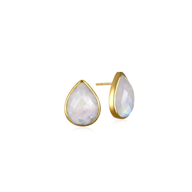 Margaret Elizabeth Teardrop Studs in Moonstone