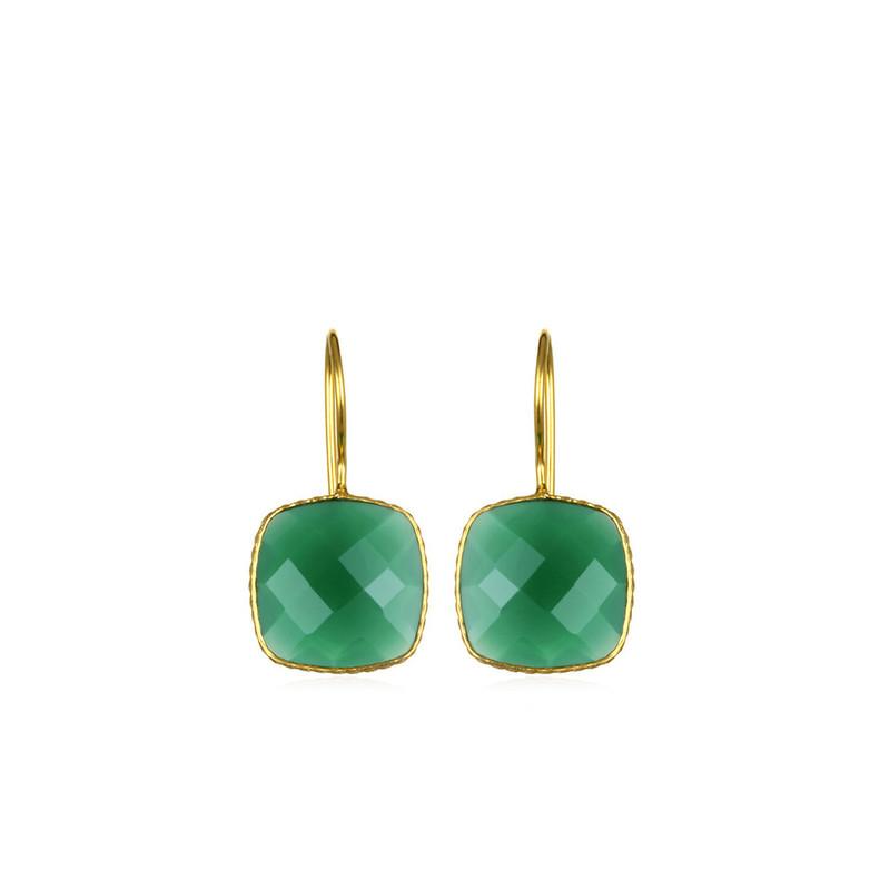 Margaret Elizabeth Mini Cushion Cut Drops in Green Onyx
