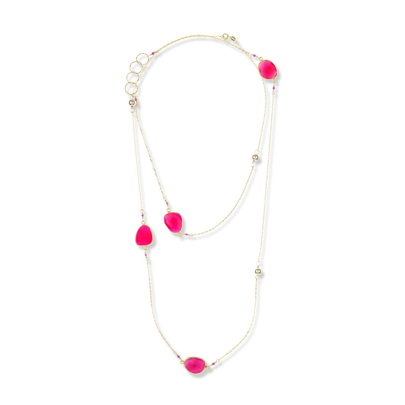 Charlene K Charm Necklace in Fuchsia Quartz