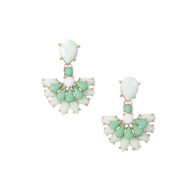 Urban Gem Fan Drop Earrings in Mint