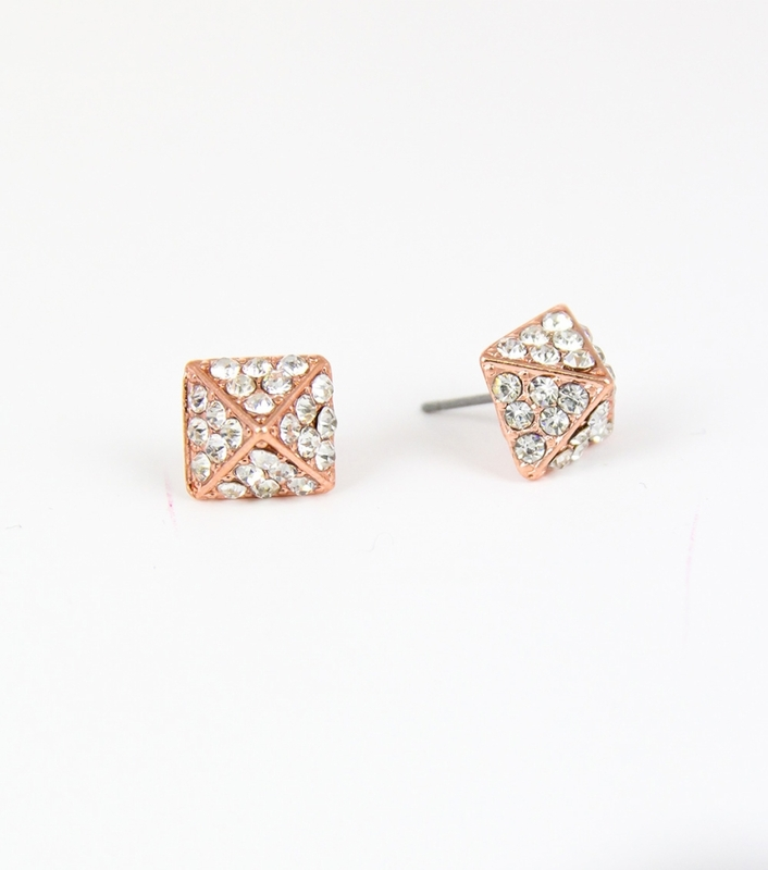 Urban Gem Pave Pyramid Studs in Rose Gold