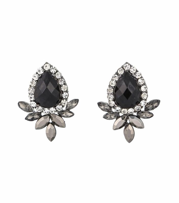 Urban Gem Black Crystal Teardrop Earrings