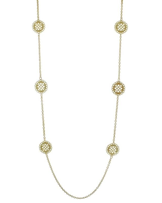 Urban Gem Filigree Disc Necklace in Gold