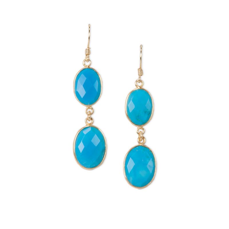 Charlene K Double Gemstones Earrings in Turquoise