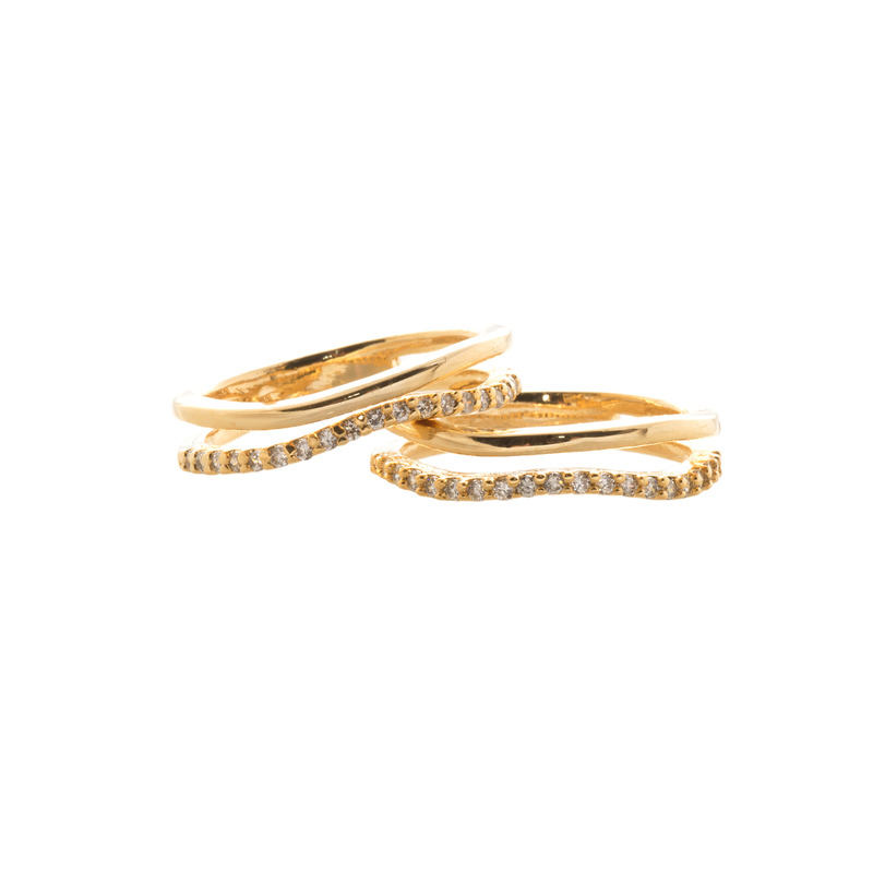 Wanderlust + Co Crystal & Bar Stack Gold Rings