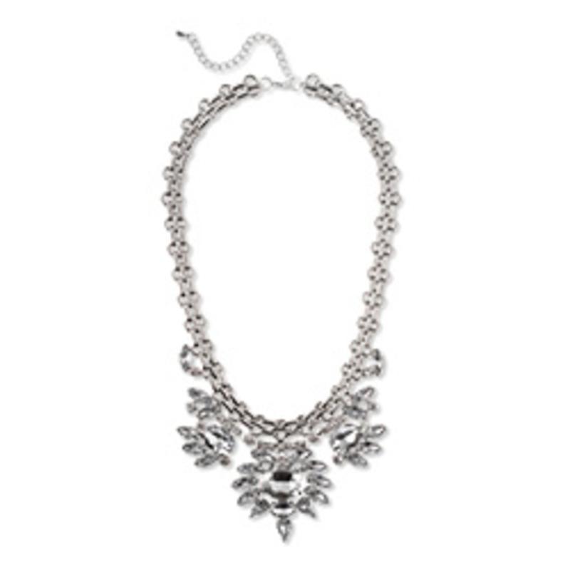 Urban Gem Crystal Bib Collar in Silver