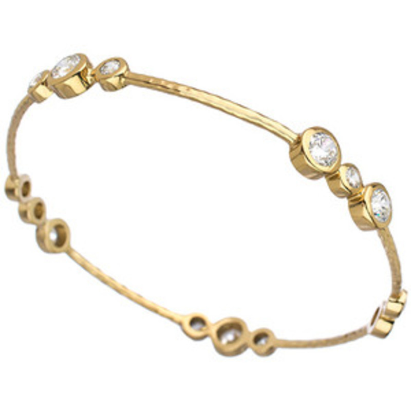 Melinda Maria Racey Bangle Gold White CZ