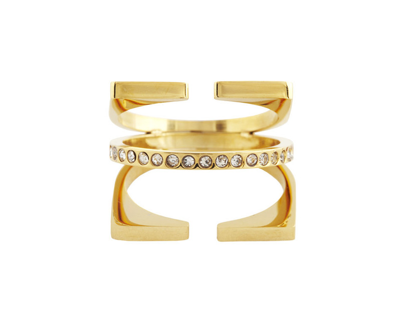 Wanderlust + Co Triple Cage & Crystal Gold Ring