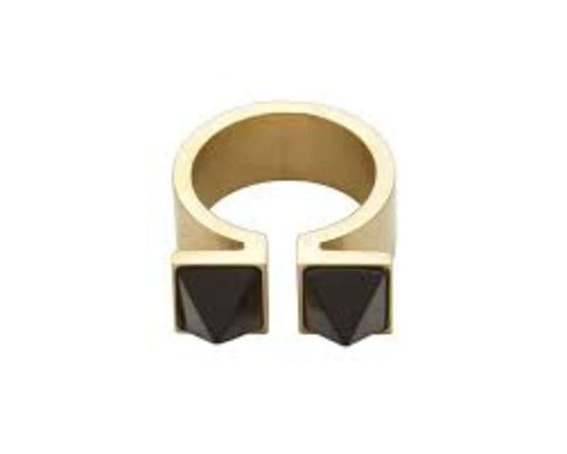 Wanderlust + Co Double Pyramid Gold & Onyx Ring
