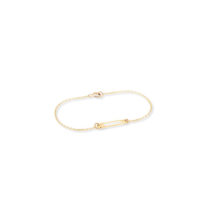 ECRU Metal Safety Pin Bracelet in Gold