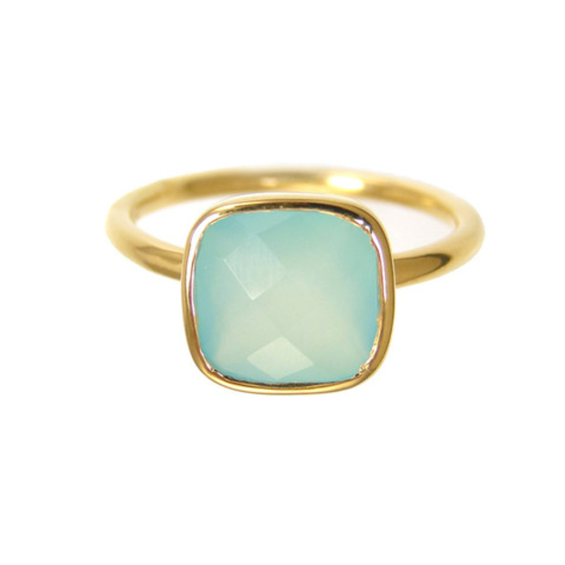 Margaret Elizabeth Cushion Cut Ring in Aqua Chalcedony