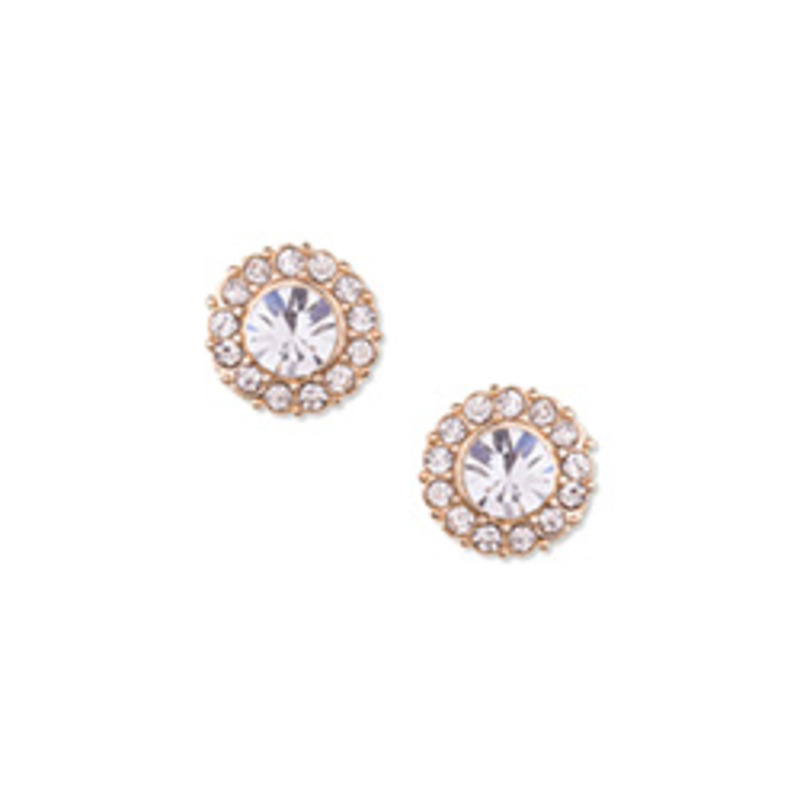 Urban Gem Pave Halo Studs in Gold