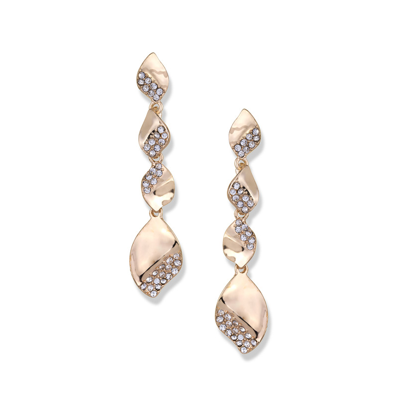 Fortuni Pavé Dangly Earrings in Gold