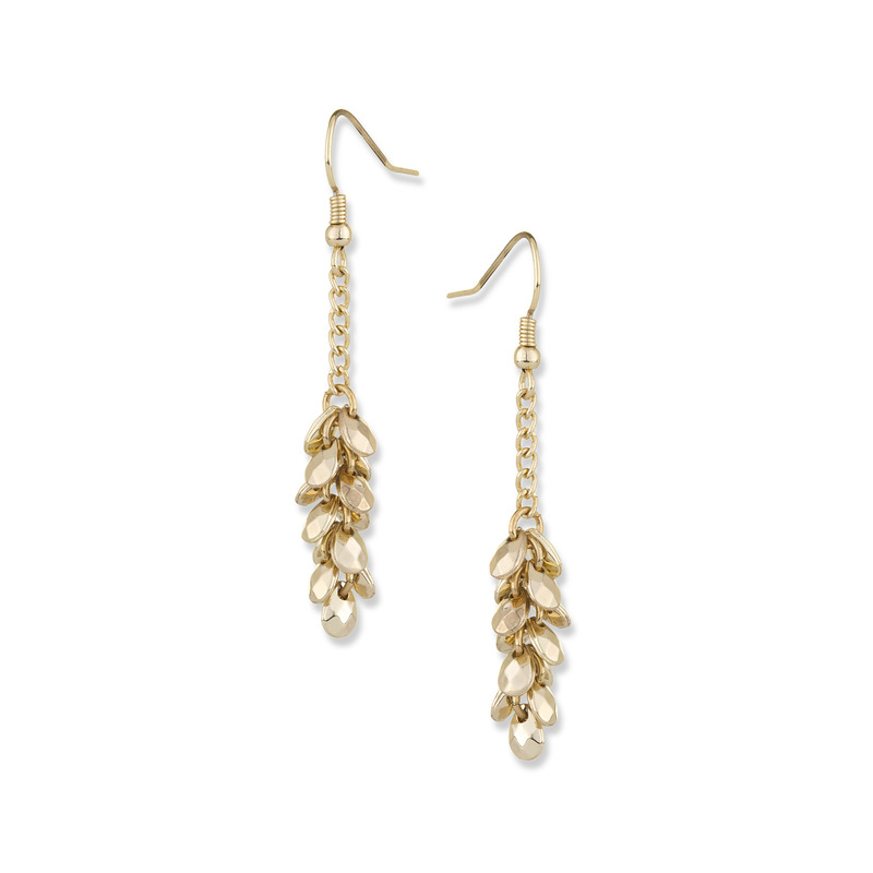 Fortuni Bunched Gold Dangly Earring in Gold