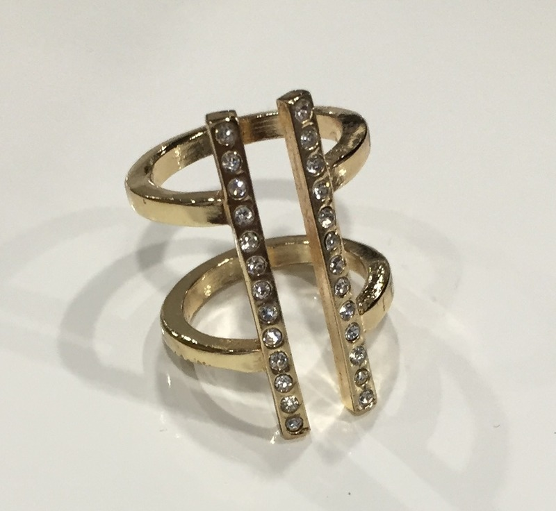 Fortuni Pave Bars Ring in Gold