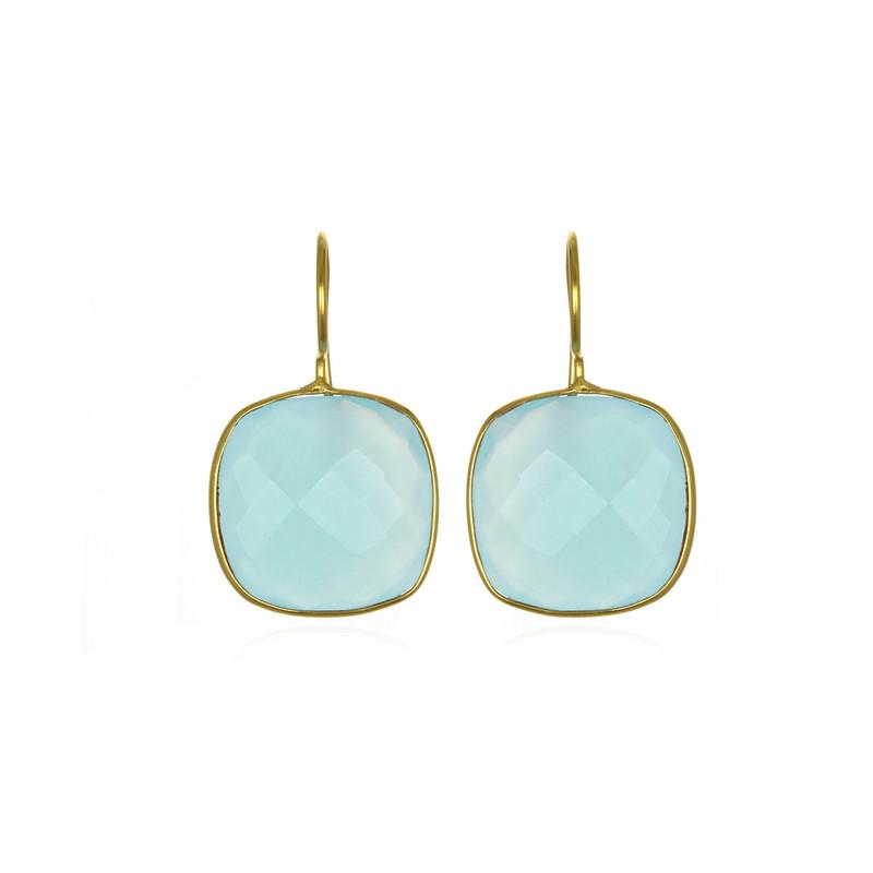 Margaret Elizabeth Cushion Cut Drop Earrings in Aqua