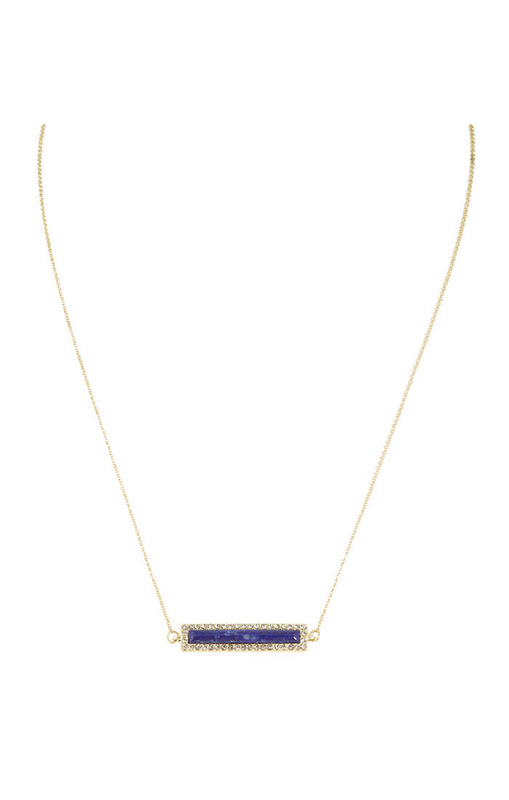 House of Harlow 1960 Illuminating Rectangle Necklace in Lapis