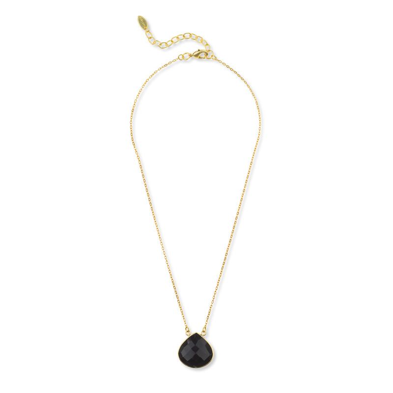 Ashiana London Teardrop Pendant Necklace in Black