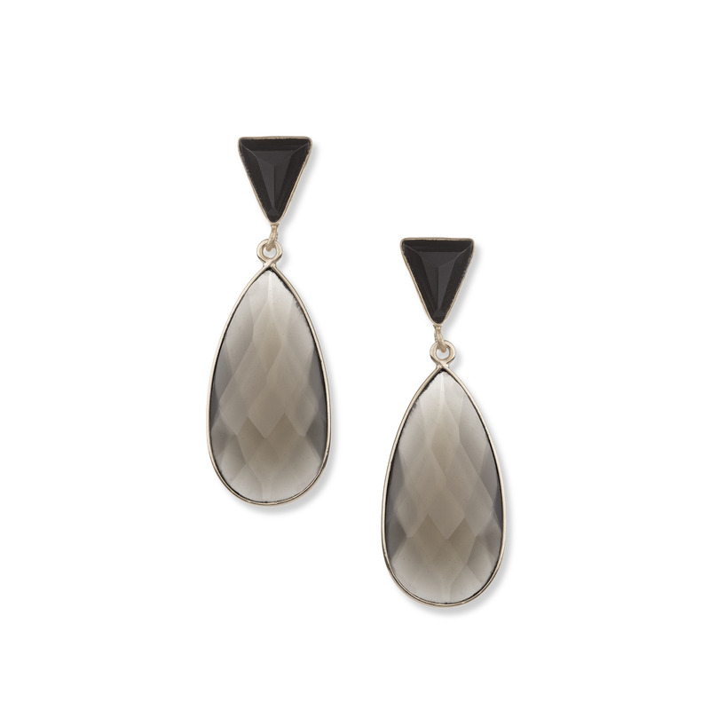Ashiana London Two Stone Drop Earrings in Onyx & Grey