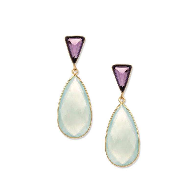 Ashiana London Two Stone Drop Earrings in Amethyst & Aqua