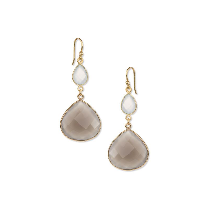 Ashiana London Two Stone Drop Earrings in Aqua & Grey