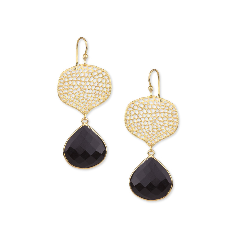 Ashiana London Hammered Gold Stone Drop Earring in Black