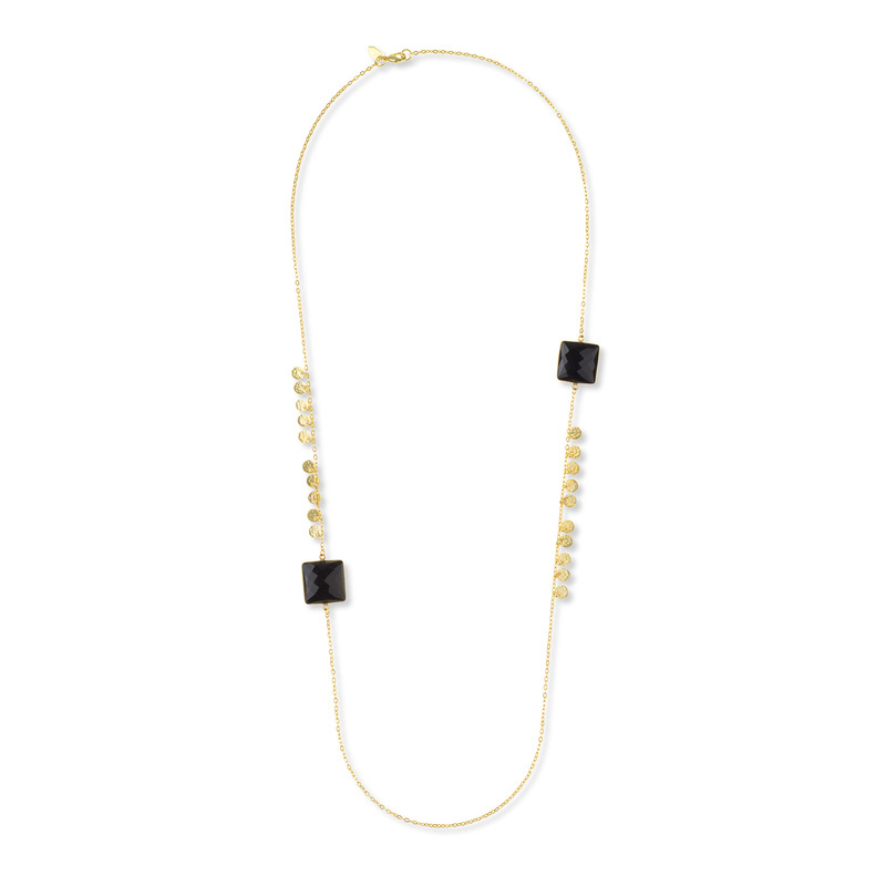 Ashiana London Square and Hammered Long Necklace in Black