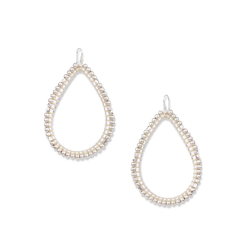 Nakamol Crystal Teardrop Earrings in Silver