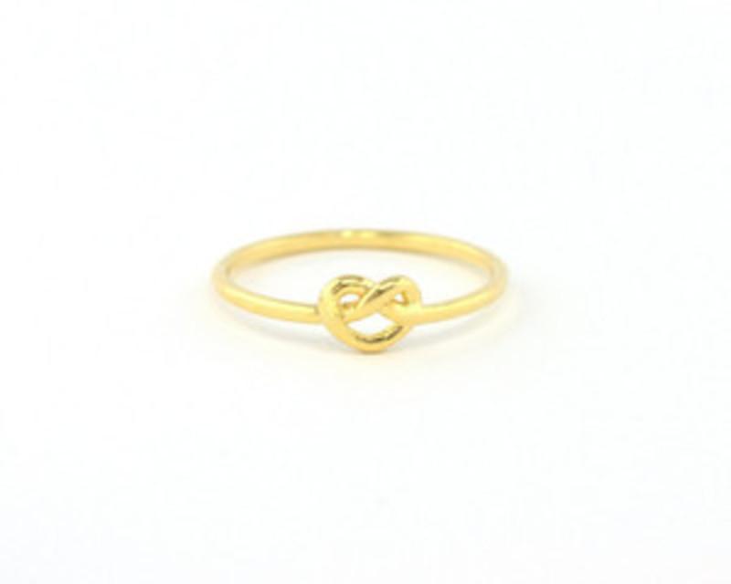 Wanderlust + Co Heart Pretzel Ring in Gold