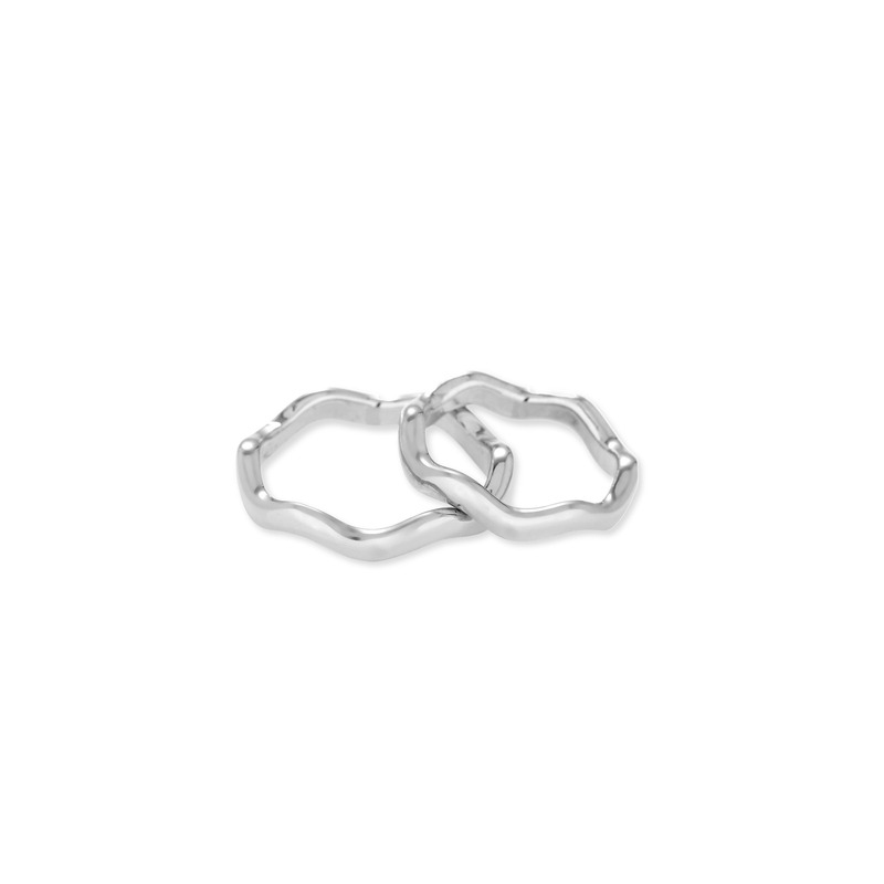 Wanderlust + Co Scallop Stack Rings in Silver
